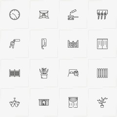 Home line icon set with bed, chandelier and fence