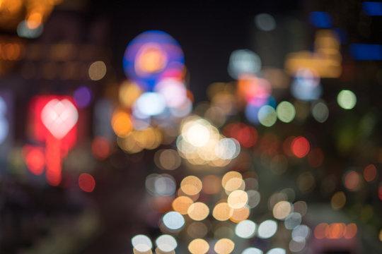 bokeh - night in Las Vegas Strip