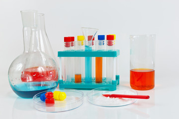 Tools and equipment for clinical experiments on a white background
