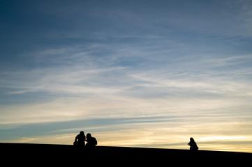 Silhouette of people in the beach, Shizuoka Japan