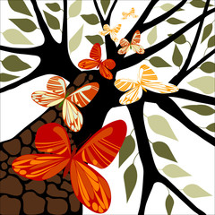 Tree with Butterflies, Vector Illustration