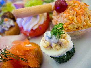 assorted appetizers on plate close up photo