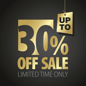 30 percent off sale discount limited time gold black background