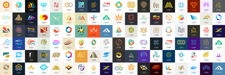Abstract logos mega collection. Geometrical abstract logos