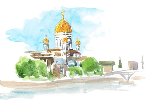 Watercolor hand drawn illustration sketch of the landscape of the Orthodox church in Moscow isolated on white