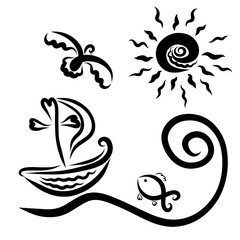 A ship with a cross floating on the waves to the sun, a flying bird and fish in the sea, Christian symbols