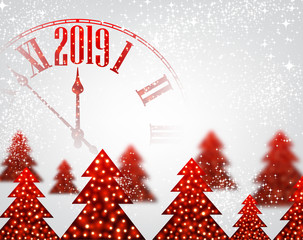 White 2019 New Year background with clock and Christmas trees.