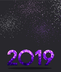 Grey New Year background with purple spectrum 2019 sign.