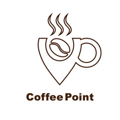 Minimalistic vector logo for coffee shop. Logotype with coffee bean and cup navigation mark