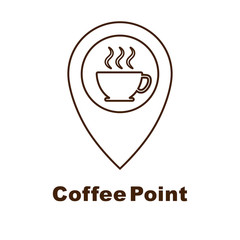 Minimalistic vector logo for coffee shop. Logotype with coffee cup and navigation mark