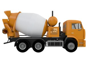orange concrete Mixer Truck  front or side view isolated on a white background 3d ren