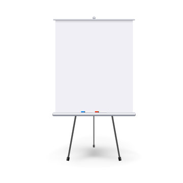 Vector realistic blank flipchart with three legs isolated on white clean background. White roll up banner for presentation, corporate training and briefing. Vector mockup.