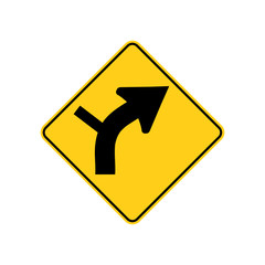 USA traffic road signs. right curve ahead,side road connection from the left. vector illustration