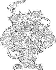 Coloring book page with funny cartoon monster on white background