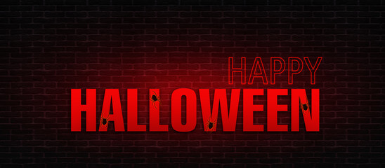 """The background of a brick wall with neon text """"Halloween"""", lights and glow. Happy Halloween Holiday"""