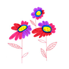 Decorative freehand drawing flowers