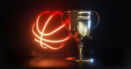 GOLD Trophy cup for basketball  3d illustration