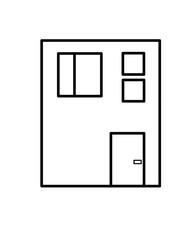 四角い家(線画)