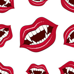 Seamless pattern of vampire mouths on a light background. Vector illustration for the holiday of Halloween.