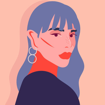 Portrait of woman with fringe