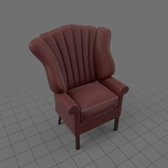 Leather stitched wingback chair