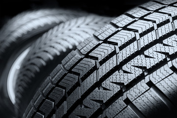Row of car tires close up