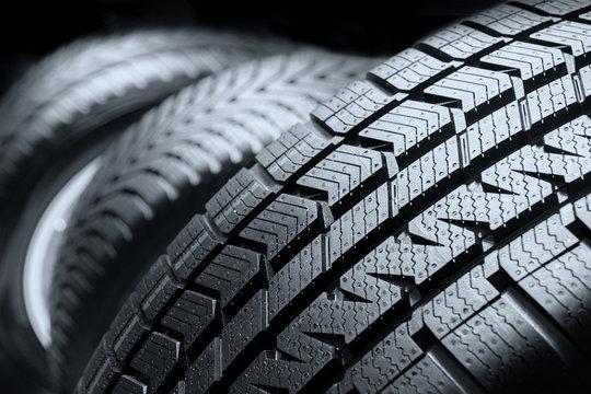 Row of car tires close up