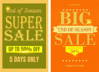 Two Big Sale Banners action. Grunge vector illustration. Discount banner template. Discount Sale banner template. Discount sale background.  . EPS 10