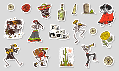 Dancing Skeletons. Day of the dead stickers. Mexican national holiday. Original inscription in Spanish Dia de los Muertos. Play the violin, trumpet and guitar. Hand drawn engraved sketch.