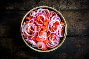 Sliced vegetables in the bowl for preparing healthy salad,selective focus