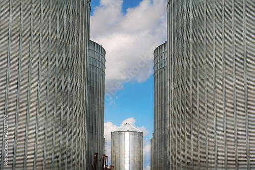 Under Construction Grain Elevators Close Up Stock Photo And Royalty