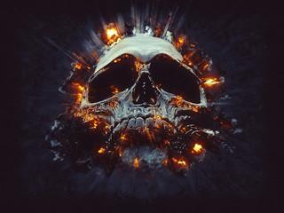 Dark skull - small explosions