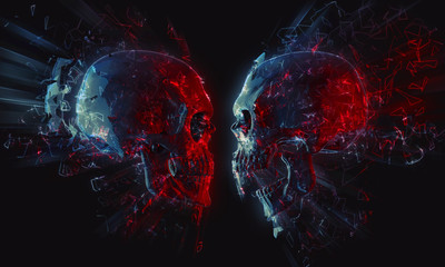 Skulls starring each other - glowing polygons