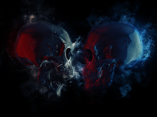 Dark skulls in blue and red lighting - cuts and clouds