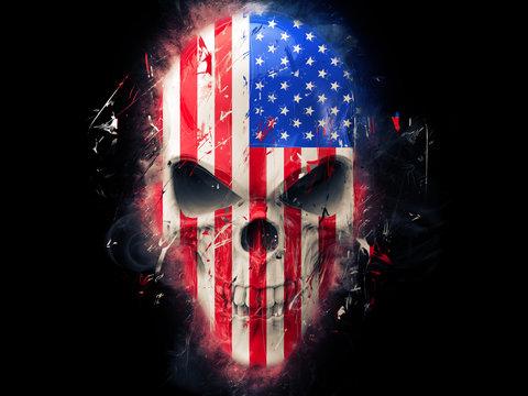 American flag angry skull - abstract