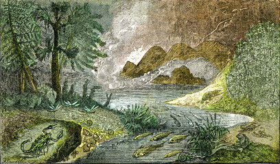 Settlement of the mainland and fresh waters at the Permian period, vintage engraving.