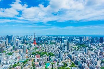 東京の都市風景 Tokyo city skyline with Tokyo Tower