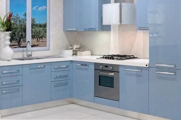 cucina moderna con mobile angolare