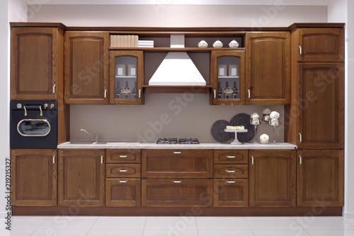 Ante In Legno Per Cucina.Cucina Tradizionale Classica Con Ante In Legno Massello Stock Photo