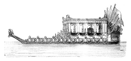 The Imperial Boat, vintage engraving.