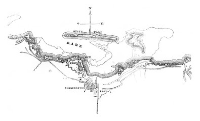 Map of the harbor and the teams of Cherbourg, vintage engraving.