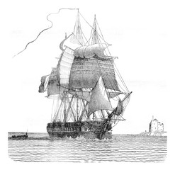 Fregate broken, viewed from starboard davit, vintage engraving.