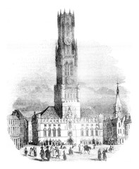 View of the hall of Bruges, vintage engraving.
