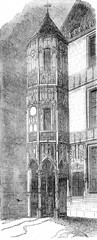 Tourelle of the hotel of La Tremoille, vintage engraving.
