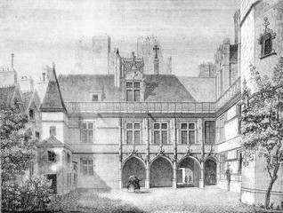 Hotel de Cluny, in Paris, Inside the courtyard, vintage engraving.