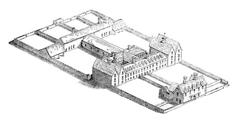 View has a straight line of a workhouse, Ireland, vintage engraving.