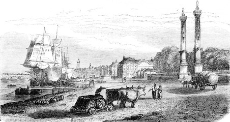 View of part of the dock before the Quinconces, occupying the site of the old castle Trumpet, vintage engraving.