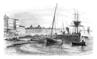 View of part of the harbor before the real Warehouse. Facade of Chartrons, vintage engraving.