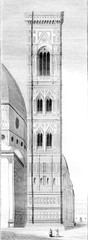 Campanile of Santa Maria del Fiore, Cathedral of Florence, vintage engraving.