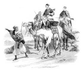 Travel in the desert by horace vernet, vintage engraving.